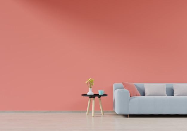 Interior de sala de estar moderna com sofá e plantas verdes, mesa na cor viva fundo de parede cor, renderização em 3d