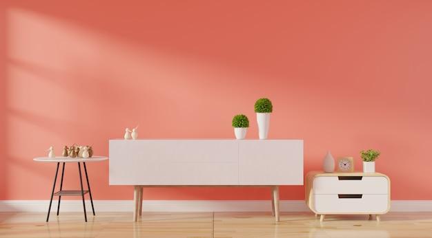 Interior de sala de estar moderna com sofá vivo cor coral e plantas verdes