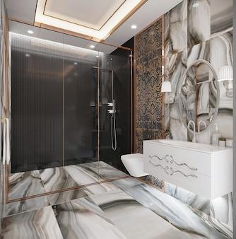 Interior de um banheiro de estilo clássico, renderização 3d