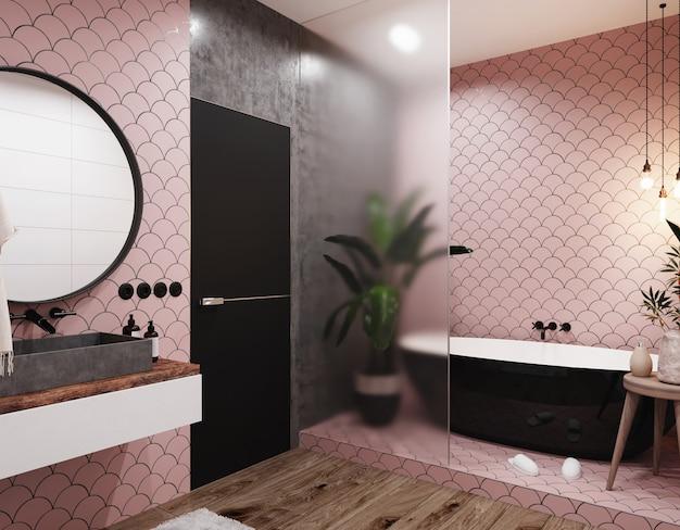 Interior de um banheiro moderno com paredes de azulejos rosa, espelho grande e pia cinza. estilo escandinavo. renderização 3d