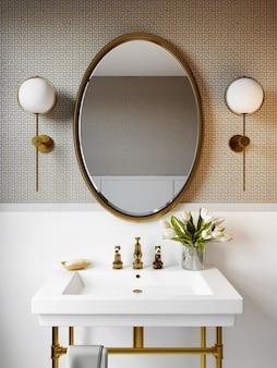 Interior de um banheiro moderno com um mosaico na parede. renderização em 3d