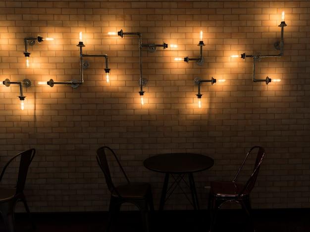 Interior, de, um, café, com, paredes tijolo