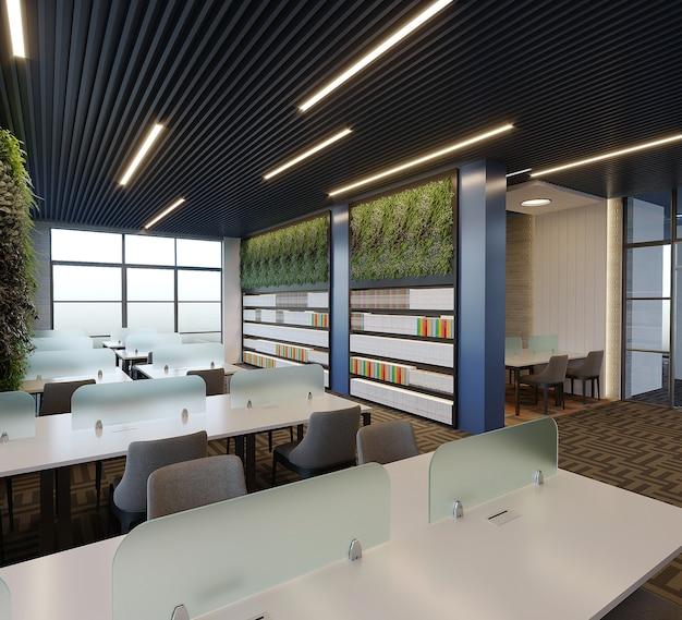 Interior de um projeto de biblioteca com mesa, cadeira e estante de livros, renderização 3d