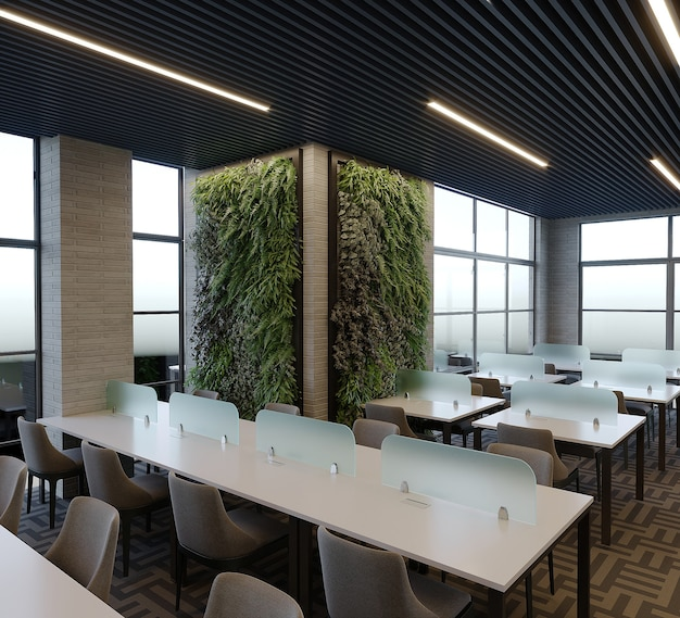 Interior de um projeto de biblioteca com mesa e cadeira, renderização 3d