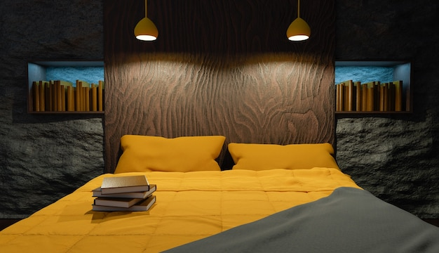 Interior de um quarto com cabeceira de madeira, parede de pedra, cama com lençóis amarelos e uma biblioteca atrás. renderização 3d