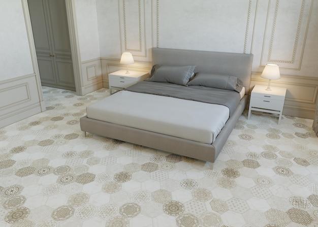 Interior de um quarto com cama e design de piso