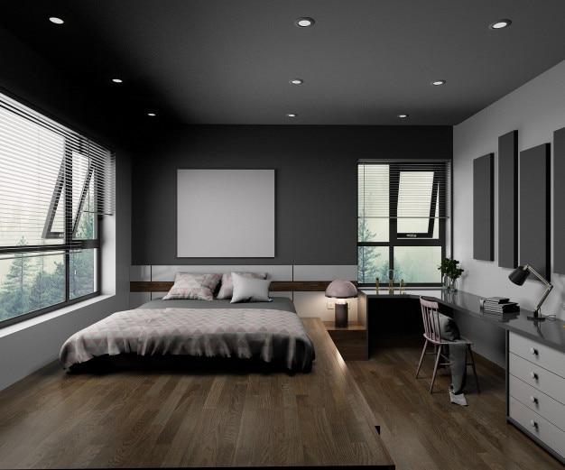 Interior de um quarto minimalista branco.