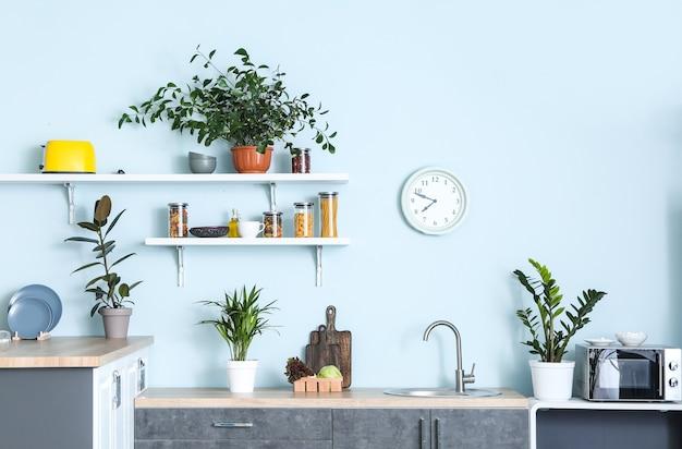 Interior de uma bela cozinha moderna