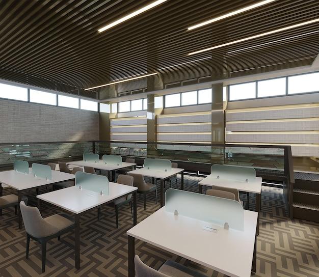 Interior de uma biblioteca com mesa de estudo e cadeiras, renderização 3d