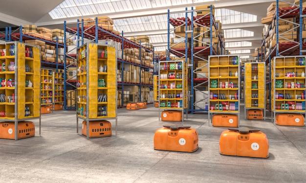 Interior de uma fábrica com drones usados para transportar mercadorias