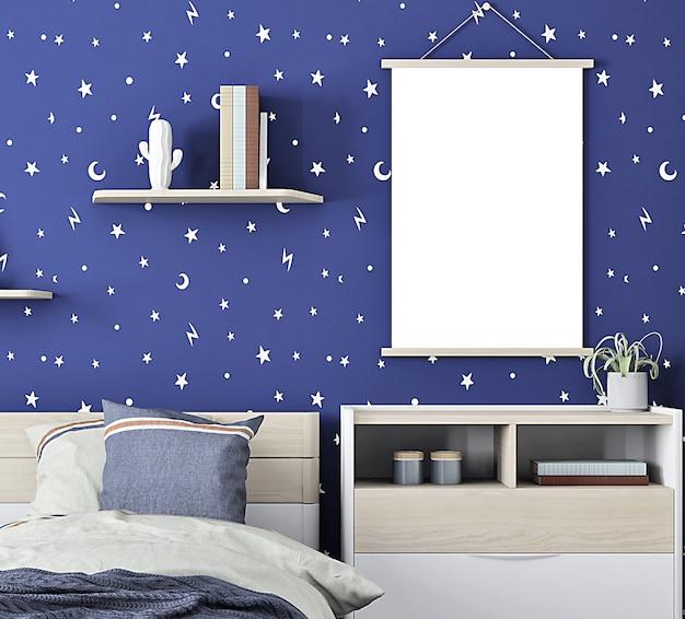 Interior de uma maquete de quarto para uma maquete de quadro de menino a4