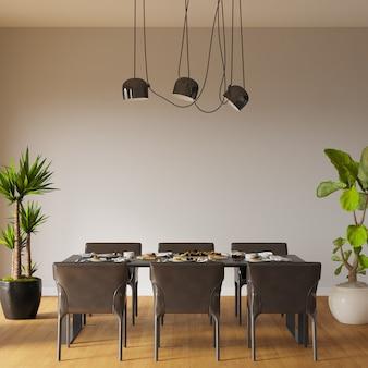 Interior de uma mesa de jantar