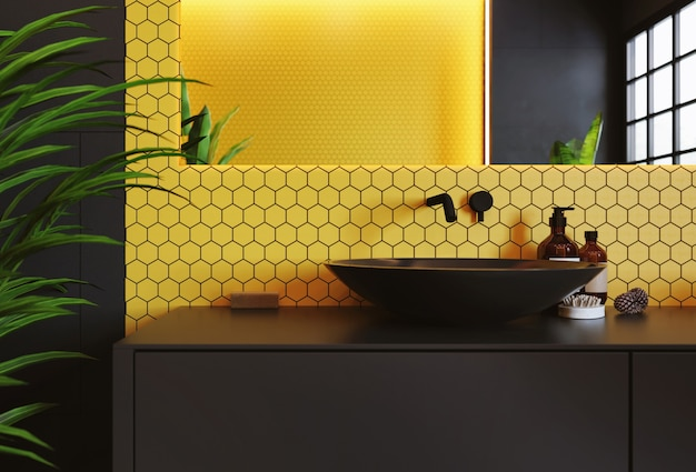 Interior de uma moderna casa de banho com um mosaico amarelo na parede. espelho retangular e lavatório redondo preto. renderização 3d