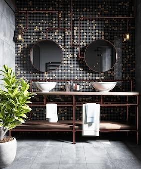 Interior de uma moderna casa de banho com um mosaico na parede. renderização 3d