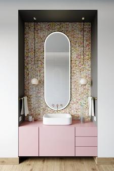 Interior de uma moderna casa de banho com uma parede com um mosaico hexagonal de tons de rosa e dourados. 3d rendem