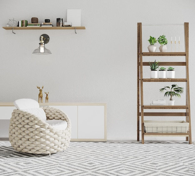Interior de uma sala com plantas e decoração