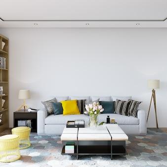 Interior de uma sala com sofá e outras decorações