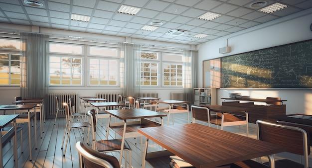 Interior de uma sala de aula, piso de madeira e carteiras. conceito de educação e aprendizagem.