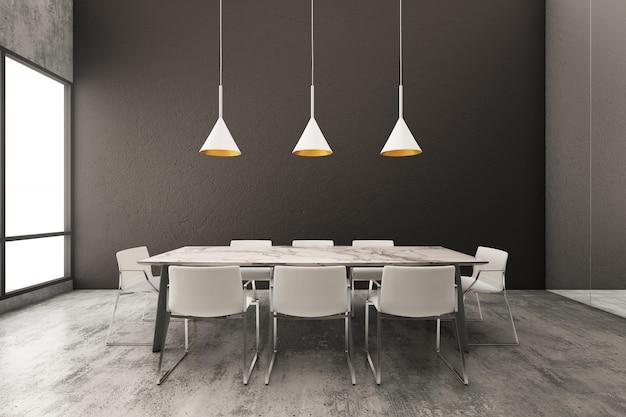 Interior de uma sala de jantar minimalista com parede preta
