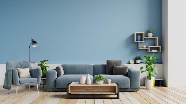 Interior de uma sala de visitas brilhante com descansos em um sofá e poltrona, plantas e lâmpada no fundo azul vazio da parede.