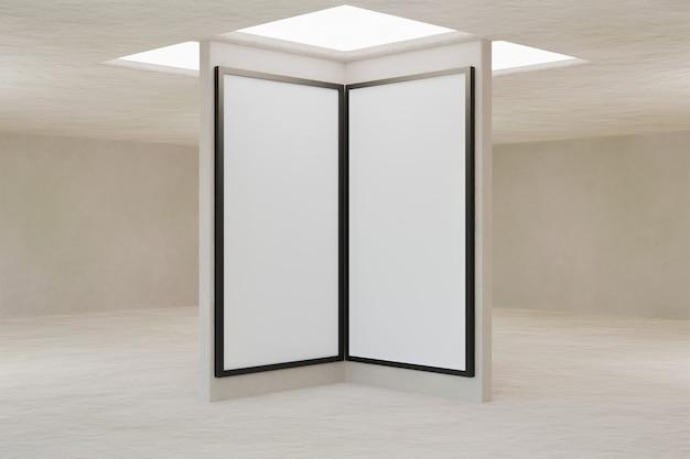 Interior de uma sala vazia com janela de telhado e maquete de molduras no centro