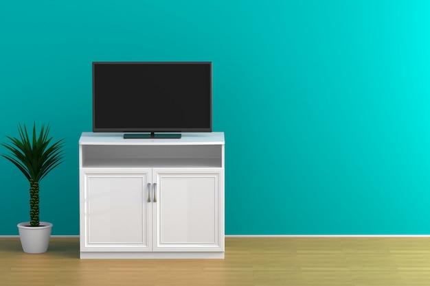 Interior, de, vazio, sala, com, tv, sala de estar, conduzido, tv, ligado, parede azul, com, tabela madeira, modernos, sótão, estilo, 3d, fazendo