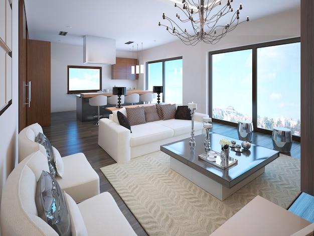 Interior do apartamento estúdio branco em estilo art déco, com grandes janelas panorâmicas.