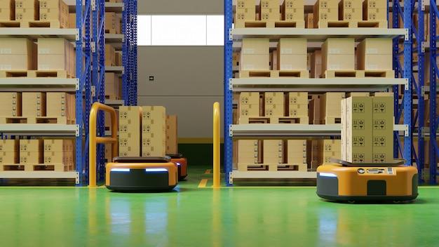 Interior do armazém no centro logístico com veículo guiado automaticamente é um veículo de entrega.