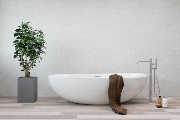 Interior do banheiro. banheira e torneira brancas.