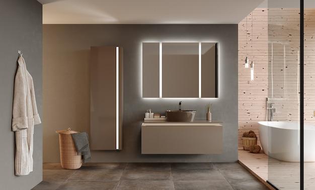 Interior do banheiro com mobília e chuveiro