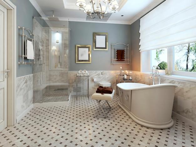 Interior do banheiro em estilo provençal com paredes cinza e móveis brancos