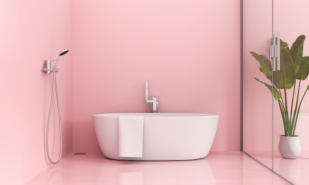 Interior do banheiro rosa