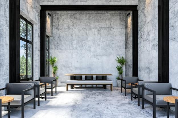 Interior do café moderno elegante loft com mesa longa, renderização em 3d