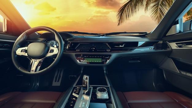 Interior do carro o estacionamento é feito à beira-mar pela manhã. renderização 3d e ilustração.