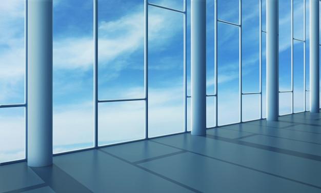 Interior do escritório com parede de vidro
