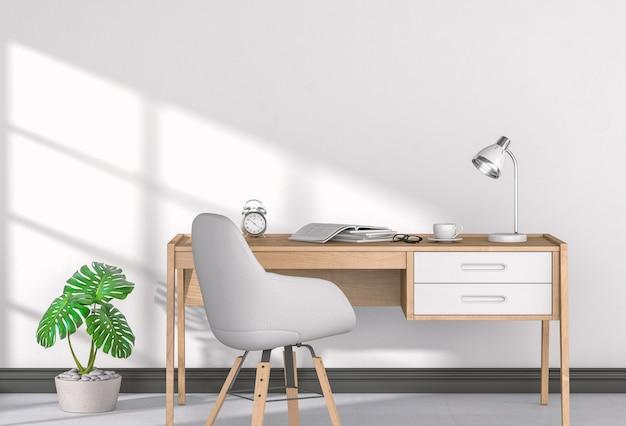 Interior do escritório em casa em estilo escandinavo. 3d rendem.