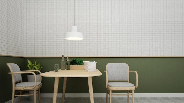 Interior do espaço do café e decoração da parede - rendição 3d