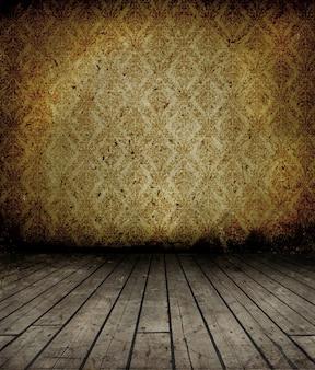Interior do grunge com piso de madeira e papel de parede vintage na parede