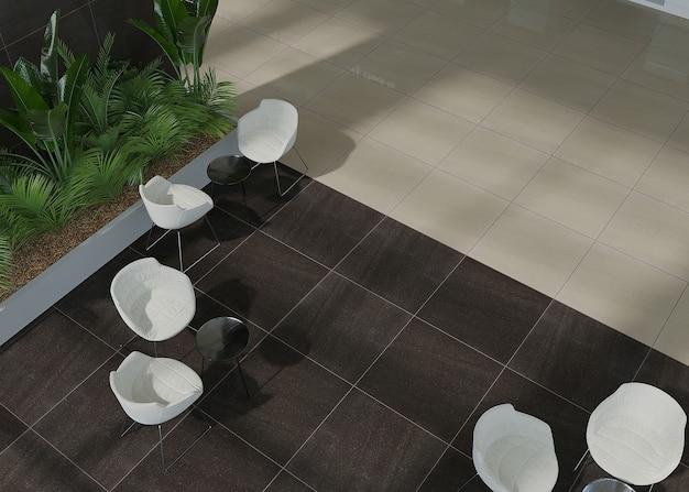 Interior do hall com azulejos cerâmicos