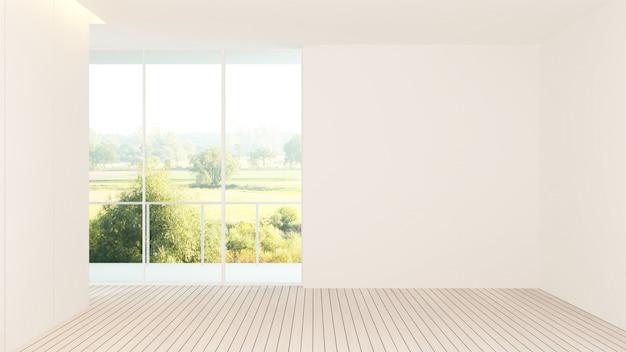Interior do hotel espaço vazio renderização em 3d - natureza vista de fundo