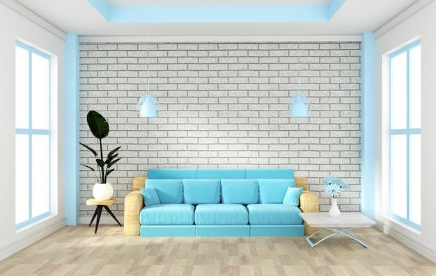Interior do loft simulado acima com sofá e decoração e parede de tijolo branco no piso de madeira