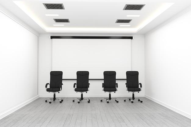 Interior do negócio com cadeiras e plantas e piso de madeira na parede branca vazia. renderin 3d