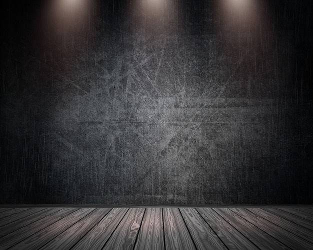 Interior do quarto 3d grunge com holofotes brilhando