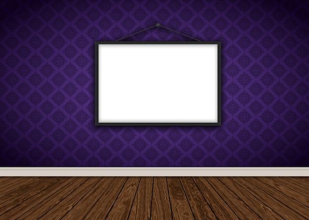 Interior do quarto com frame roxo do damasco papel de parede em branco foto e piso de madeira