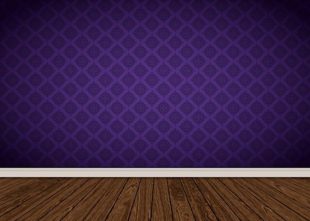 Interior do quarto com papel de parede damasco roxo e piso de madeira