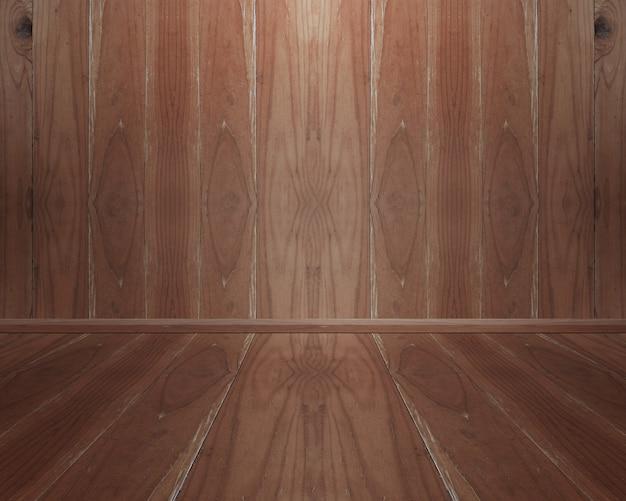 Interior do quarto com parede de madeira e piso para o fundo