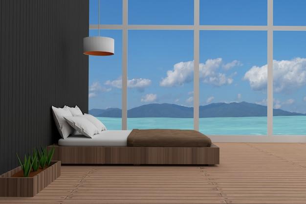 Interior do quarto com vista para o mar em renderização em 3d