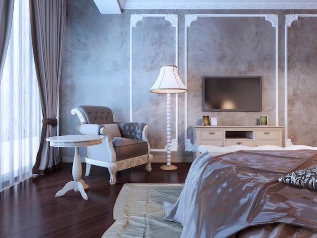 Interior do quarto de hotel em estilo art déco