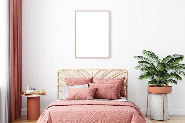 Interior do quarto em estilo boho, maquete de parede branca, maquete de farme, renderização em 3d
