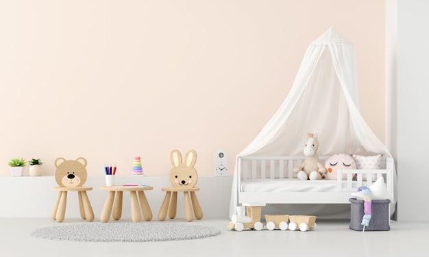 Interior do quarto infantil com espaço de cópia